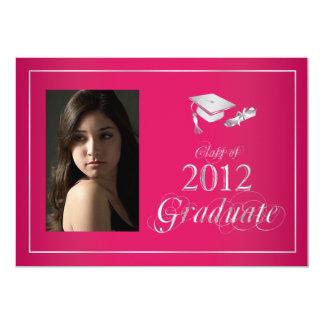 Classy Pink & Silver 2012 Graduate Photo Invite