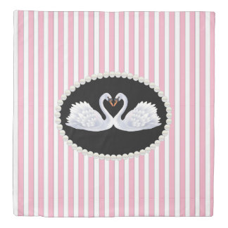 Classy Pink Stripes Pearls & Swans Duvet Cover