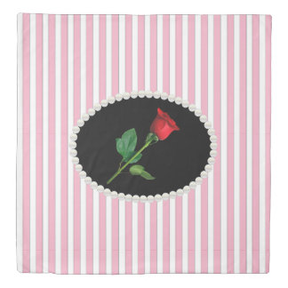 Classy Pink Stripes & Red Rose Duvet Cover