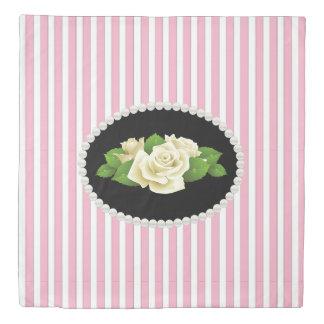 Classy Pink Stripes & White Roses Duvet Cover