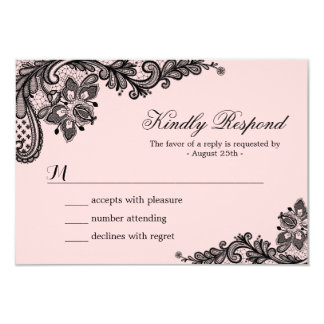 Classy Pink with Black Lace Wedding RSVP Card