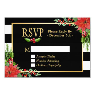 Classy Poinsettia Floral Gold Black White Stripes Card
