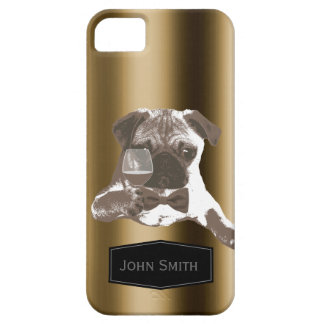 Classy Pug & Wine Custom Name iPhone 5 Case