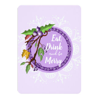 Classy purple background- mistletoe and snowflake card