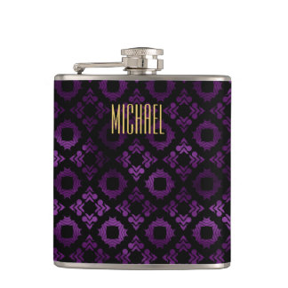 Classy Purple, Black, and Gold Hip Flask