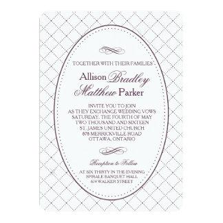 Classy Purple Check Pattern Wedding Invitation