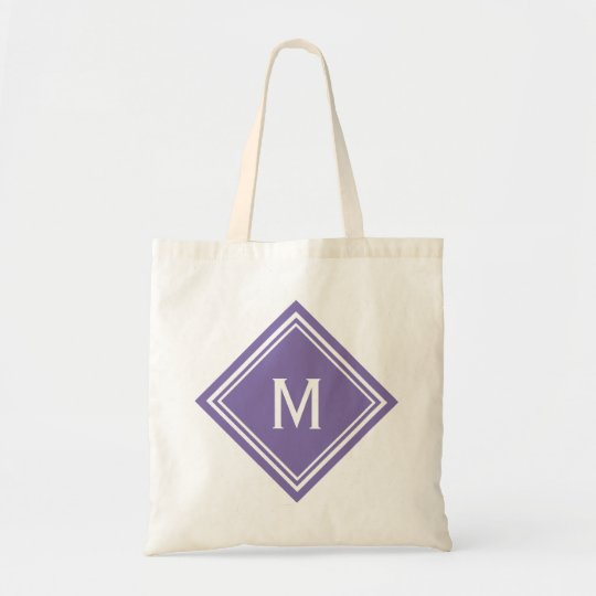 Classy Purple Diamond Monogram Tote Bag