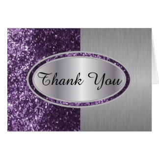 Classy Purple Glitter Brush Steel Metal Look Card