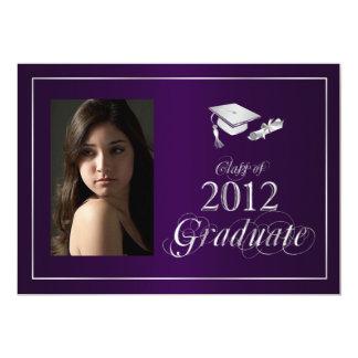 Classy Purple & Silver 2012 Graduate Photo Invite