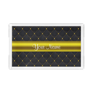 Classy Quilted Black and Gold Personalized Acrylic Tray