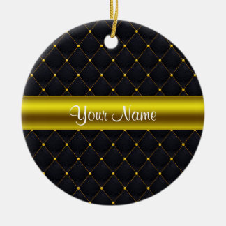 Classy Quilted Black and Gold Personalized Ceramic Ornament