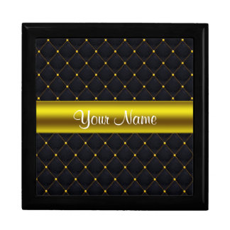 Classy Quilted Black and Gold Personalized Gift Box