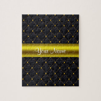 Classy Quilted Black and Gold Personalized Jigsaw Puzzle