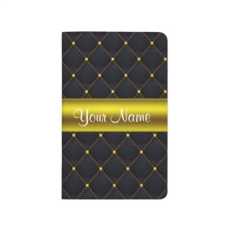 Classy Quilted Black and Gold Personalized Journal