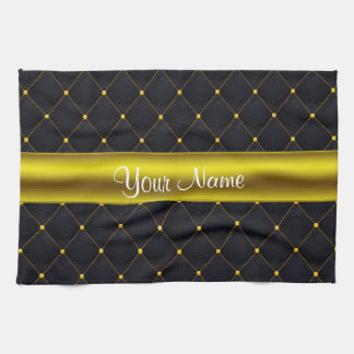 Classy Quilted Black and Gold Personalized Kitchen Towel