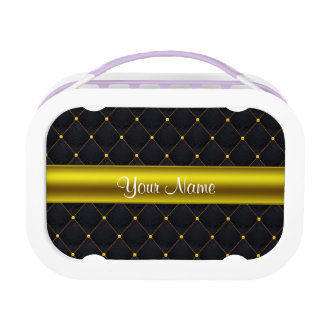 Classy Quilted Black and Gold Personalized Lunch Boxes