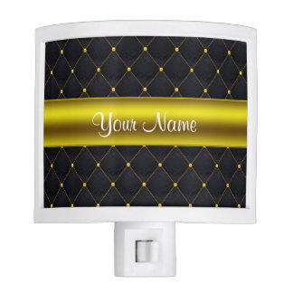 Classy Quilted Black and Gold Personalized Night Lites