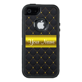 Classy Quilted Black and Gold Personalized OtterBox Defender iPhone Case
