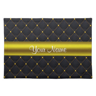 Classy Quilted Black and Gold Personalized Placemat