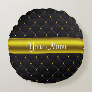 Classy Quilted Black and Gold Personalized Round Pillow