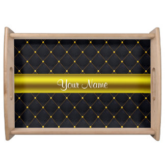 Classy Quilted Black and Gold Personalized Serving Tray