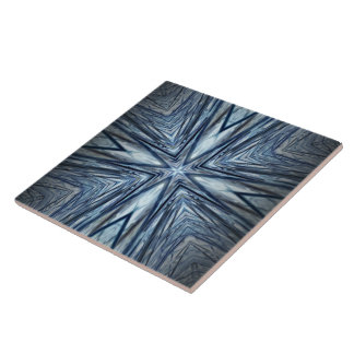 Classy Radiating Blue Monochromatic Pattern Tile
