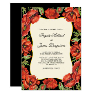 Classy Red and Black Poppy Wedding Card
