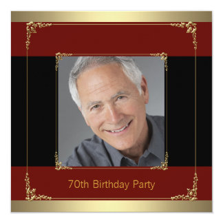 "Classy Red, Black and Gold 70th Birthday Party 5.25"" Square Invitation Card"