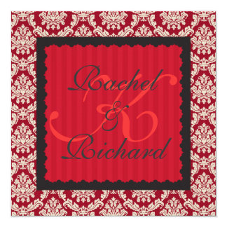 """CLASSY RED DAMASK INVITATION FOR RENEWAL OF VOWS/ 5.25"""" SQUARE INVITATION CARD"""