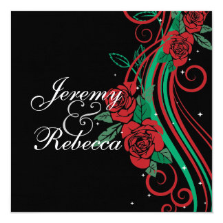 "Classy Red Roses and green swirls on black wedding 5.25"" Square Invitation Card"