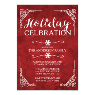 Classy Red Snowflake Holiday Celebration Party Card