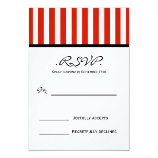 Classy Red Striped RSVP Card
