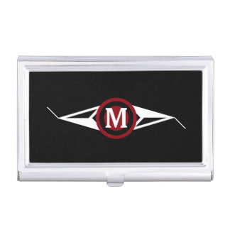 Classy Red White Black Design With Monogram Business Card Holder