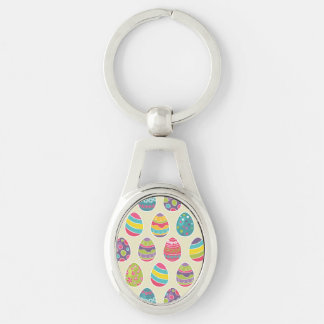 Classy Retro Easter Eggs Happy Easter Day Silver-Colored Oval Keychain
