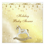 "Classy Rocking Horse Neutral Christmas Baby Shower 5.25"" Square Invitation Card"