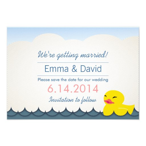 Classy Rubber Duck Save the Date Announcements