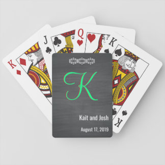 Classy Rustic Black Chalk Chalkboard Monogram Playing Cards