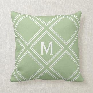Classy Sage and White Diamond Pattern Monogram Throw Pillow