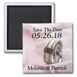 Classy Save The Date Wedding Rings Bands Photo Square Magnet