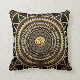 Classy Shiny Black & Gold OM Symbol Mandala Throw Pillow