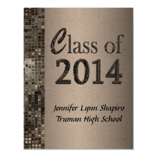 """Classy Silver 2014 Graduation Invitations 4.25"""" X 5.5"""" Invitation Card"""