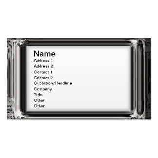 Classy Silver 3d Frame On White Business Cards