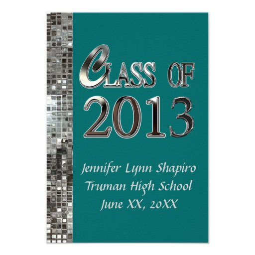 Classy Silver And Any Color Graduation Invitations