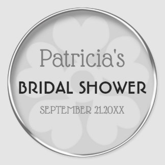 Classy Silver Bridal Shower Favour Classic Round Sticker