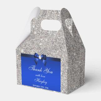 Classy Silver Sequins Blue Bow Diamond Favor Box