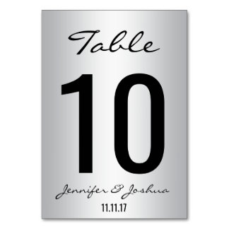 Classy Silver Wedding Table Numbers Cards Template Table Card