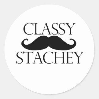 Classy Stache Mustache Round Sticker
