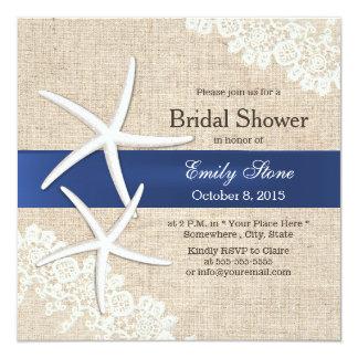 "Classy Starfish Lace & Burlap Bridal Shower 5.25"" Square Invitation Card"
