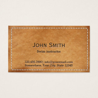 Classy Stitched Leather Swim Instructor Business Card