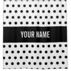 Classy Striped Custom Name Black & White Polka Dot